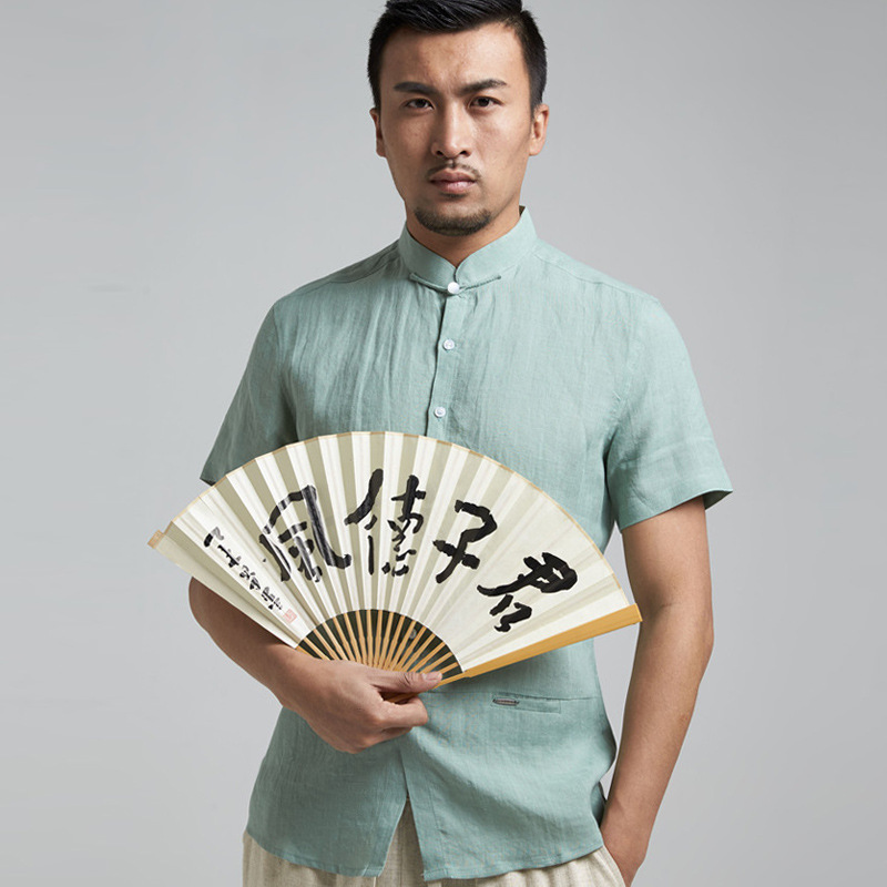50 manufacturers selling young pure ramie slim collar shirts Chinese male costume short sleeve 1717