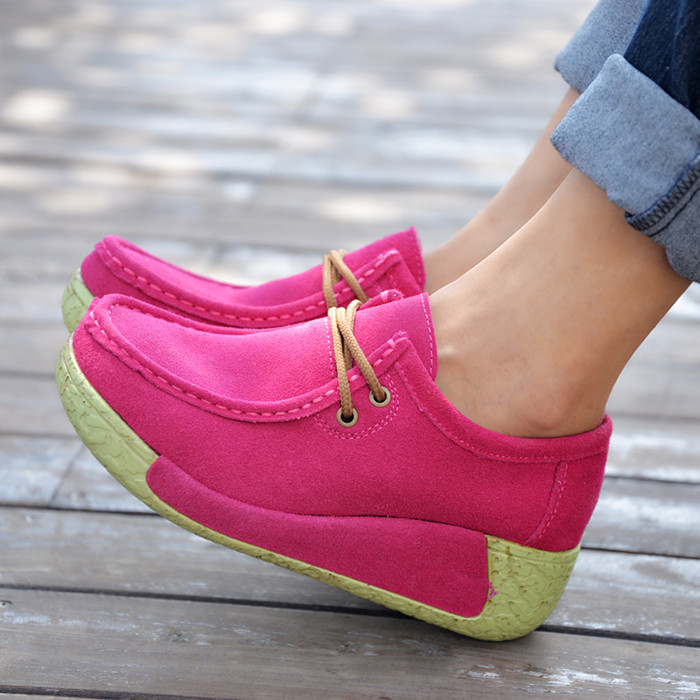 Sponge soles higher leather with wedges of new fund of 2014 autumn winters is recreational shoe USES soft bottom women's shoes