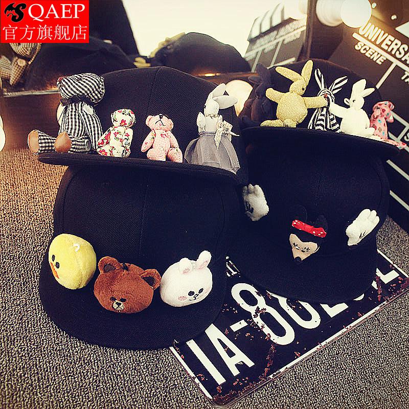 甜美可爱卡通动物头帽子小熊兔子儿童平沿手工亲子棒球帽韩版男女