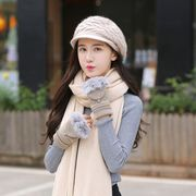 Charming smile three-piece suit collar lady winter flower hat suit pure color long warm scarf gloves