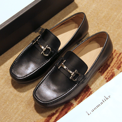 Europe metal buckle horsebit big leather shoes breathable shoes Doug driving lazy casual shoes p