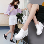 The increase in women's autumn pedal white shoe female sports shoes muffin thick bottom slope documentary loafer shoes