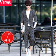 Men's Korean suits, men's youth, spring and summer leisure seven points, sleeve suit, thin stripe, sleeve, small suit