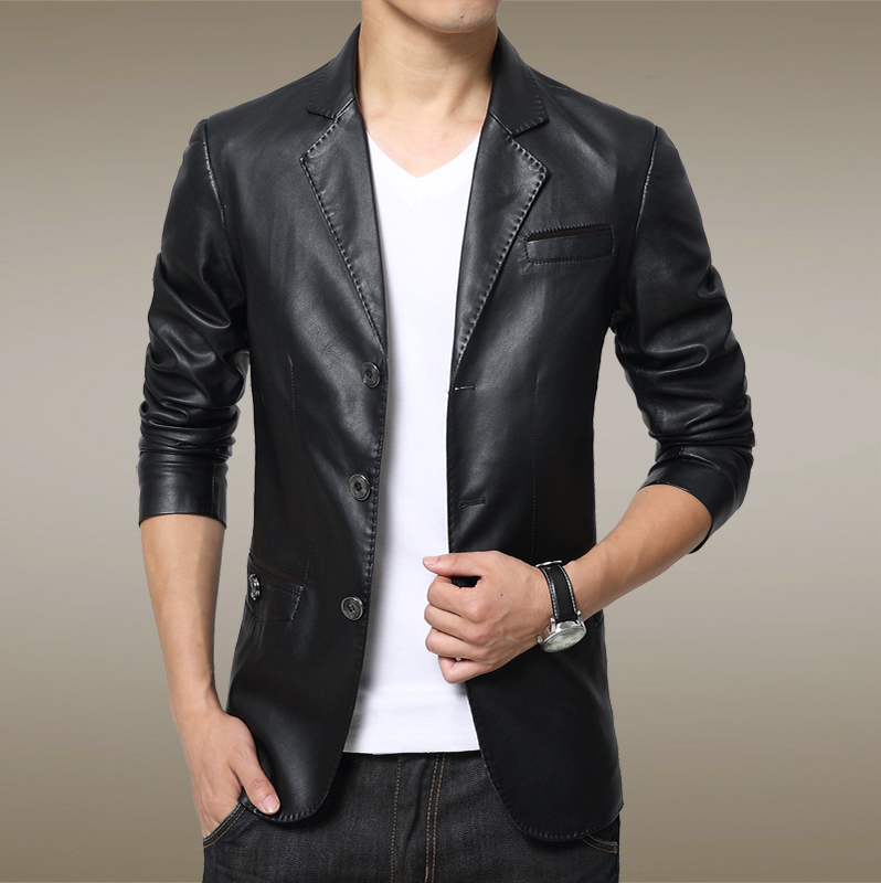 Hongkong purchasing new autumn small suit, men's coat, self-cultivation leather, male tide leather jacket, men's suits