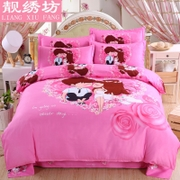 Four sets of double sanding thickened winter wedding red bedding 1.8m 1.5m wedding bed bedding
