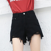 2017 new Korean students high waisted holes flash Black Denim Shorts loose wide leg pants female summer heat