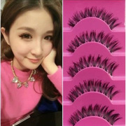 Japanese handmade false eyelashes Terrier transparent Japanese eye tail lengthened natural messy short thick cross nude make-up bag mail