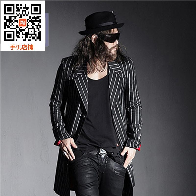 Punk Harajuku stage costume gentleman temperament show thin vertical stripes in the long suit two button black suit jacket