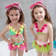 Korean children swimsuit girls bikinis three piece band cap split skirt cute baby swimwear dance