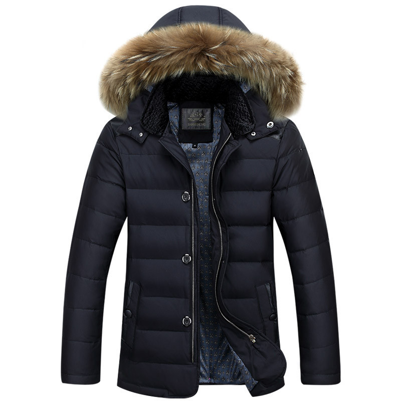 Company down jacket in winter long thickening male han edition tide men hooded jacket coat of cultivate one's morality