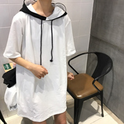 Color mosaic Hooded Sweater female short sleeved summer new Korean tide students in the long section of loose T-shirt coat