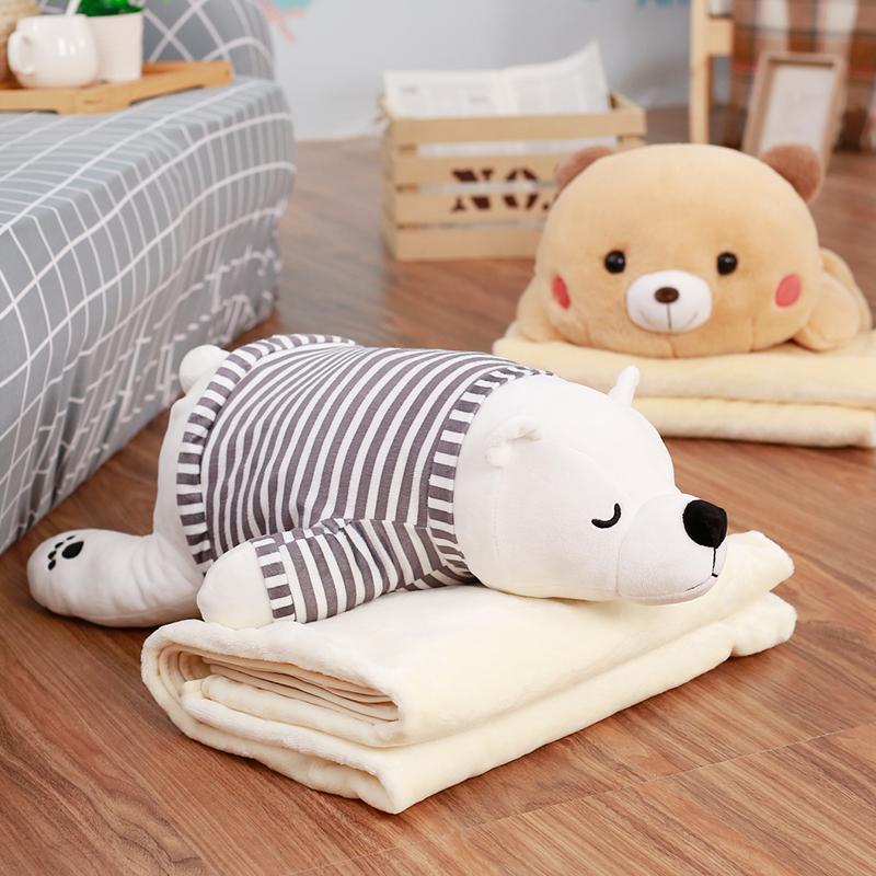 卡通抱枕被子两用午睡枕头汽车办公室珊瑚绒腰靠枕靠垫空调被毯子
