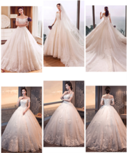 Luxury wedding dress sexy slim suit simple wedding dress Exhibition hosted a shoulder gift box