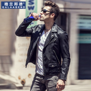 Trendy men's Motorcycle Leather Men's Korean version, slim short retro lapel, PU leather jacket, imitation sheepskin youth coat