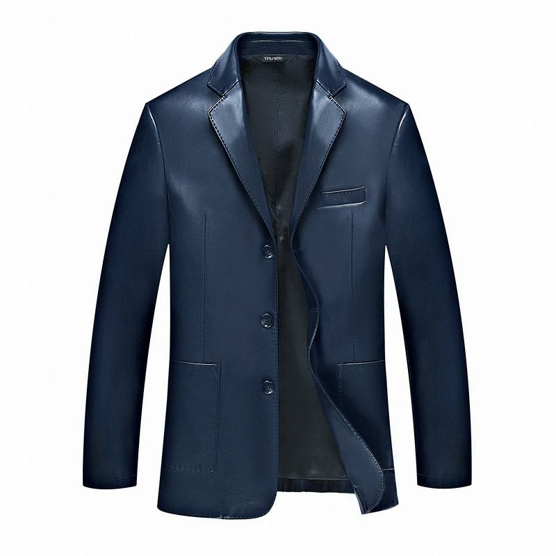 In the spring of new men's size suit leather leather suit and fertilizer increase Leather Jacket Mens middle-aged leather jacket
