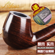 Dou Shi love ebony pipe manual pipe stone old Phoebe bent wood bucket tobacco smoke pot straight portable