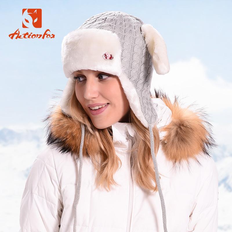 快乐狐狸帽子女冬季兔子耳朵毛绒毛线针织护耳帽雷锋帽
