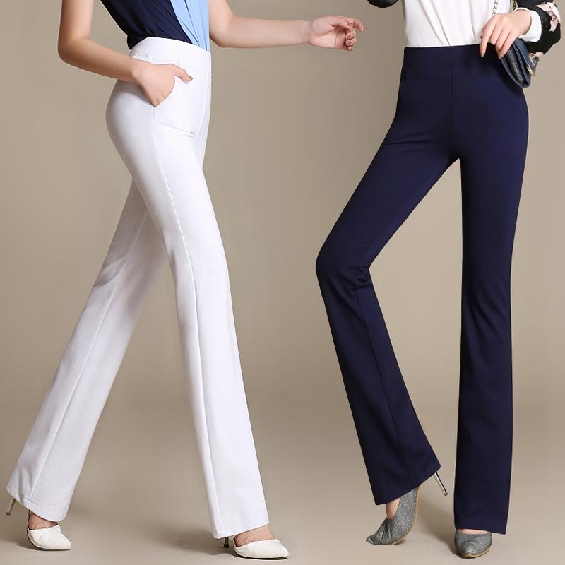 2018春新款中高腰弹力直筒微喇裤长裤白色女裤显高挑显瘦工作裤