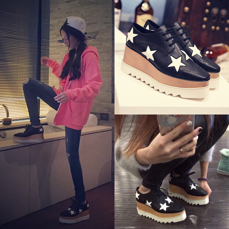 Europe in the autumn of 2015 New England star platform shoes heels shoes Square Xia Po shoes tide