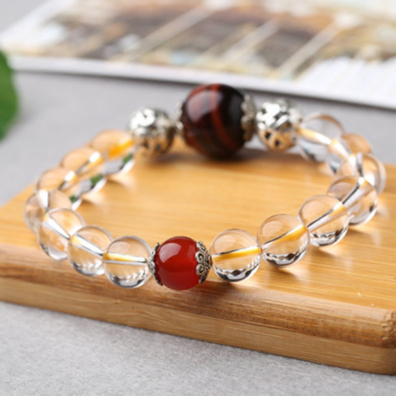 Shipping natural yellow tiger smoke tea white crystal stone Gift Red Agate Pendant Bracelet lovers send men and women