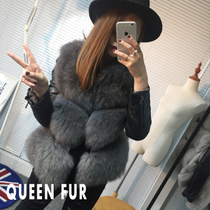 2016 new grass fox fur jacket short genuine leather fur fur women long sleeve Haining leather