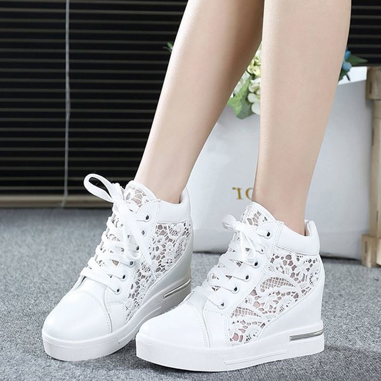 Ventilation, hollow season, spring and summer, women's higher ups, women's shoes, sports, leisure, Korean version, thick soles, shoes, net noodles, shoes, wind