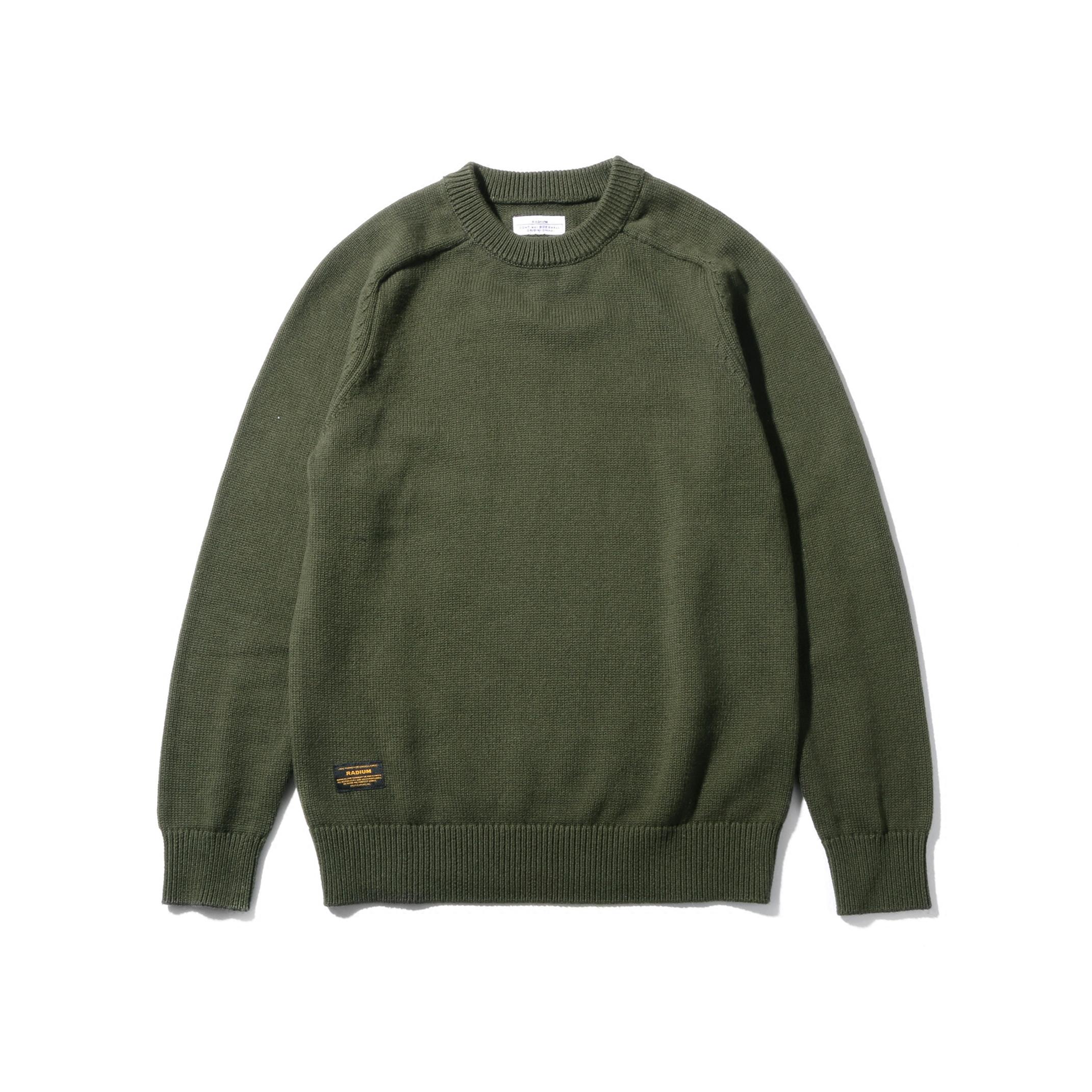 RADIUM 纯色羊毛混纺毛衣 潮牌圆领日系羊毛衫余文乐线衣 非wtaps