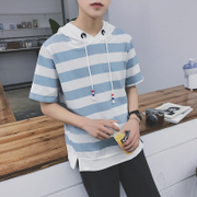 The summer youth male students. A loose sweater head hooded striped short sleeved T-shirt coat tide tee