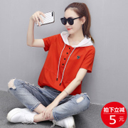 Hooded female T-shirt short sleeved loose hoodies summer 2017 new women's clothes on a thin section of Korean Students