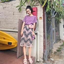 左娇娇19up水溶蕾丝半身裙女2018春夏新款高腰chic超短裙裤包臀裙