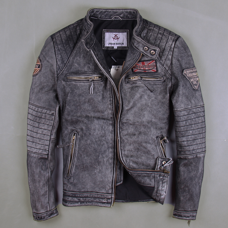 The new import head layer leather suede male short slim collar Korean Motorcycle Jacket Coat tide