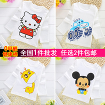 End of spring and autumn cotton baby shirts for boys and girls children buckle cartoon t shirt long sleeve shoulder shirt 1-2 3-5