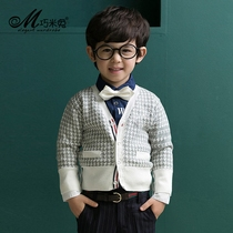 Boys knitted Cardigan in Korean version of childrens clothing in the spring and autumn big children sweater children cotton v neck sweater coat thicken