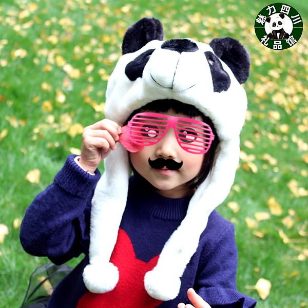 包邮熊猫帽子儿童亲子帽冬季毛绒熊猫头帽子四川成都旅游纪念品