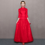 The bride toast outfit long 2016 new female Chinese wedding dress wedding gown wedding dress dress winter show slim wo
