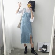 Korean dress in the long section of the code cowboy loose straight burr cowboy suspenders skirt hem slit spring students