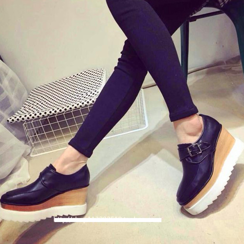European fashion square shallow tidal shoes, thick-soled platform shoes with buckle leather lounge-punk shoes women's shoes