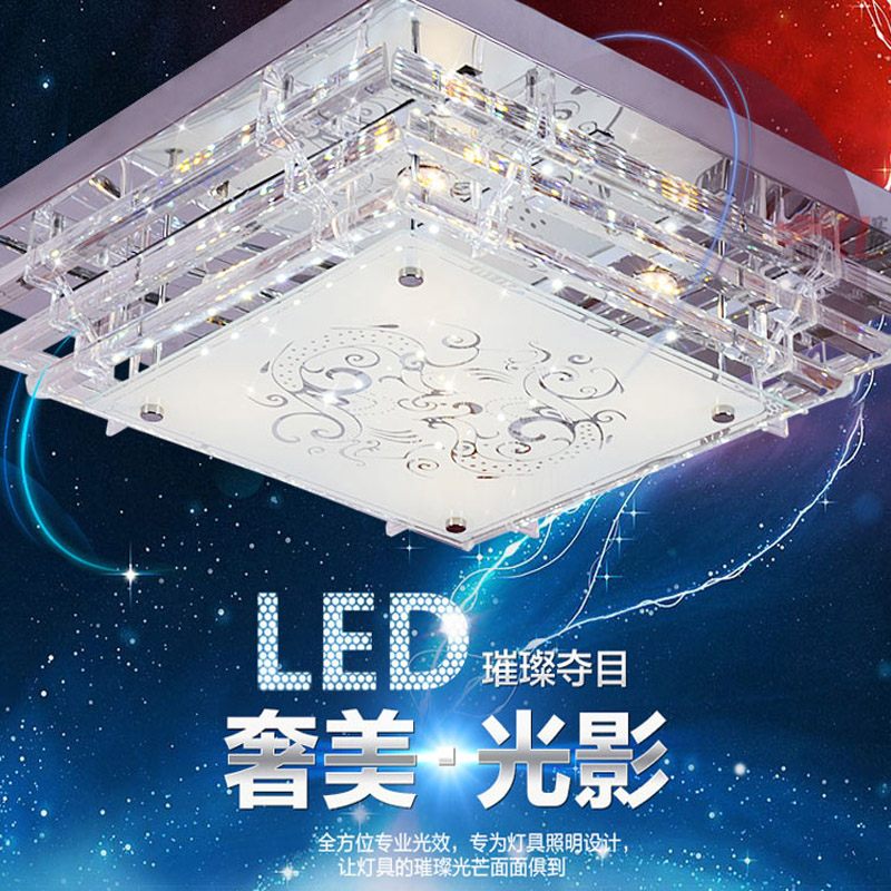 Modern led ceiling lamp bedroom lamps and lanterns living room modern light square top luxury crystal flat panel low pressure lamps