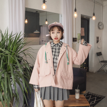 Spring and Autumn New Korean version, college wind loose, BF students short big pockets, windbreaker coat, female jacket, student tide