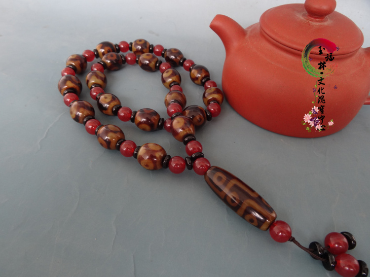 About to end a dollar auction natural Tibet Beads Agate 3 eyes + 9 eyes bead necklace Bracelet