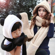 Hat scarf glove three piece suit collar female one winter day children adult panda Tide Girls