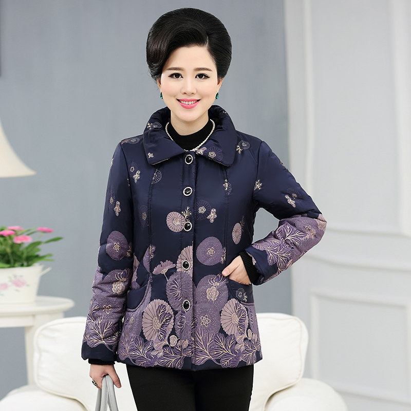Middle-aged and old women's wear thick cotton-padded clothes down cotton-padded jacket short middle-aged mother into the elderly more winter coat jacket
