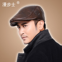 Mens fur hats men winter cap Hat winter leather hats for the elderly male Korean version of the old cotton men