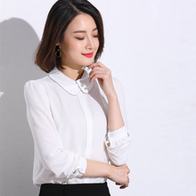 2017 new spring blouse cardigan dress Korean long sleeved shirt lapel jacket occupation loading tide