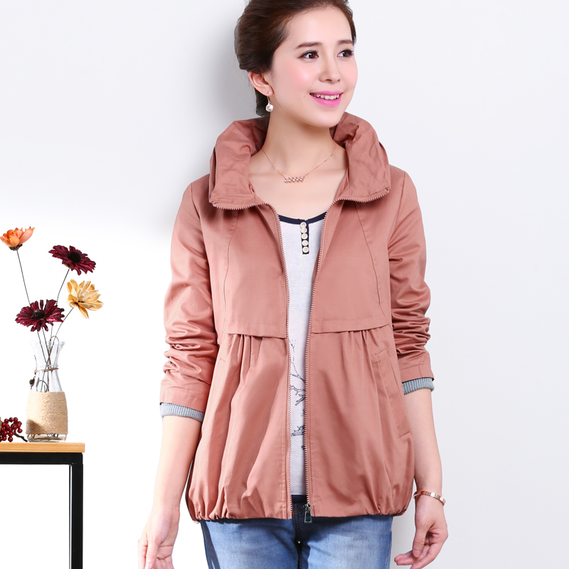 2015 autumn collection Bud brought hooded commuter splicing short coat loose plus-size skirt ladies cardigan