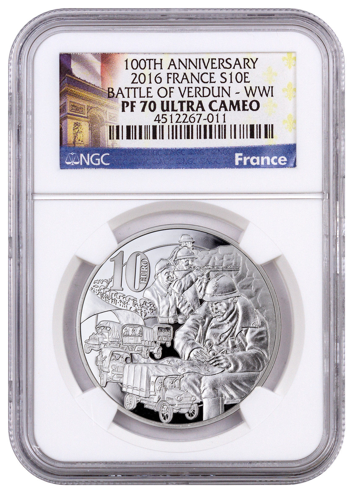 Haining, France, 2016, World War I, Centennial Series, Verdun, sacred Road, silver coin, NGC-PF7