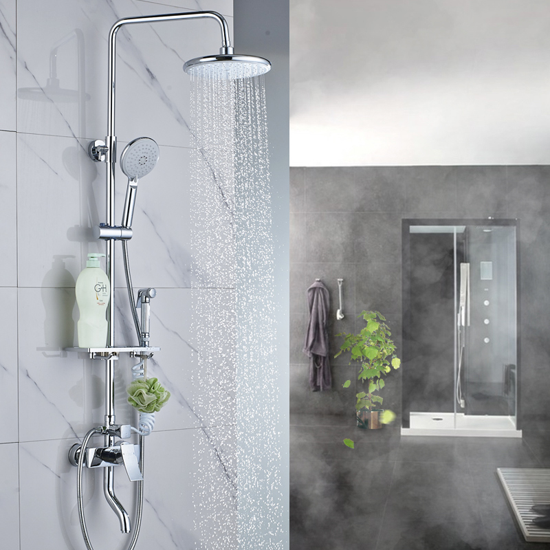 The whole body copper faucet shower bathroom shower nozzle water mixing valve bathroom faucet set