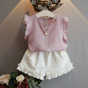 Kids Girls Summer suit Sleeve Chiffon fly big boy little girl baby sleeveless shorts two piece set special offer tide