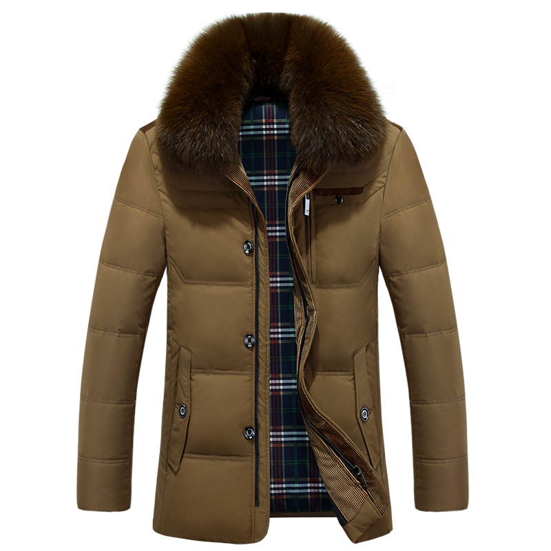 The new winter men coats white duck down thickening middle-aged men's business casual jacket down jacket dad