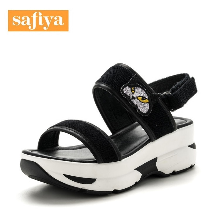 Sophie summer new comfortable joker high-heeled wedge Velcro female sandals SF72116039 cartoon fabric